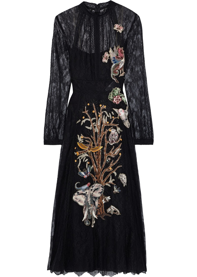 Valentino Woman Appliquéd Silk Lace Gown Black