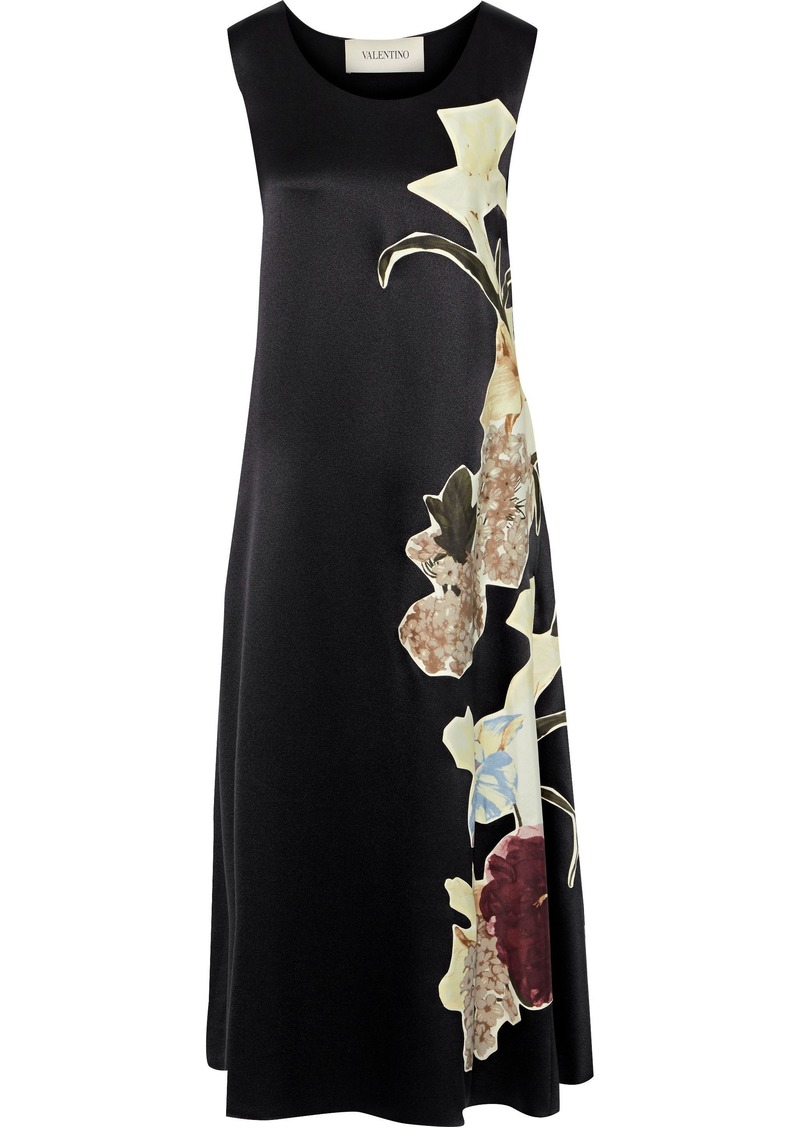 Valentino Woman Appliquéd Silk-satin Midi Dress Black