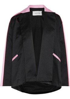 Valentino Woman Appliquéd Two-tone Silk-satin Jacket Black