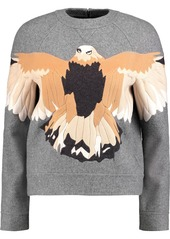 Valentino Woman Appliquéd Wool-blend Felt Sweater Gray