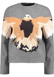 Valentino Woman Appliquéd Wool-blend Felt Sweater Gray
