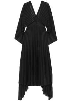 Valentino Woman Asymmetric Open-back Pleated Stretch-knit Dress Black