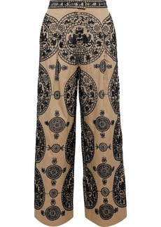 Valentino Woman Bead-embellished Cotton-twill Wide-leg Pants Beige