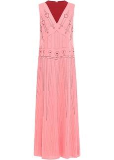 Valentino Woman Bead-embellished Embroidered Two-tone Silk-crepe Midi Dress Bubblegum