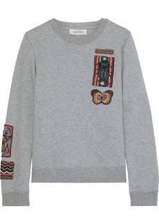Valentino Woman Bead-embellished French Cotton-blend Terry Sweatshirt Gray