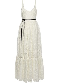 Valentino Woman Belted Broderie Anglaise Cotton-blend Maxi Dress Off-white