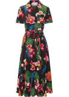 Valentino Woman Belted Floral-print Silk-crepe Midi Dress Black
