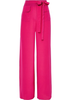 Valentino Woman Belted Washed-silk Wide-leg Pants Fuchsia