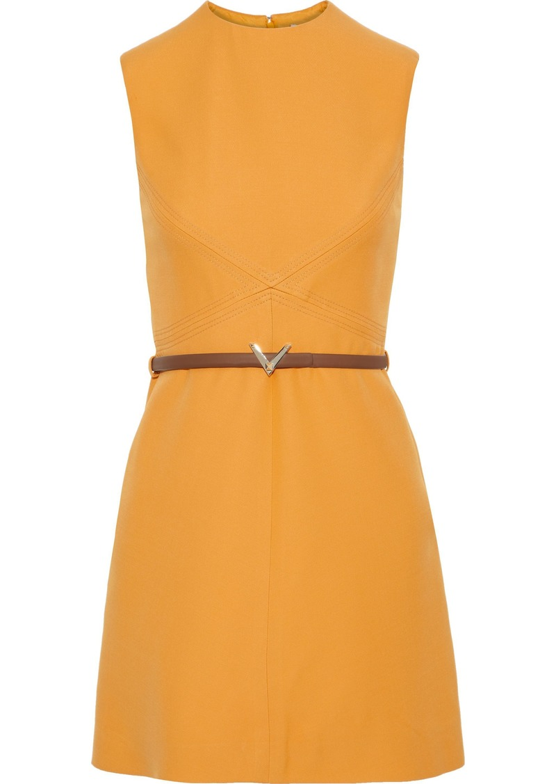 Valentino Woman Belted Wool And Silk-blend Cady Mini Dress Pastel Orange