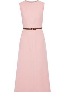 Valentino Woman Belted Wool And Silk-blend Midi Dress Blush
