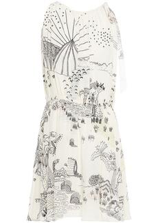 Valentino Woman Bow-detailed Printed Silk Crepe De Chine Mini Dress Ivory