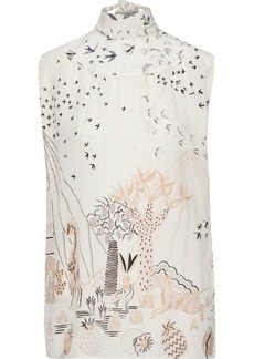 Valentino Woman Bow-detailed Printed Silk Crepe De Chine Top Off-white