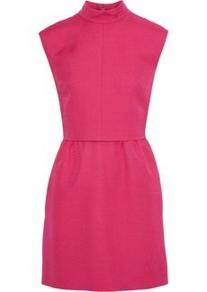 Valentino Woman Bow-embellished Layered Wool And Silk-blend Crepe Mini Dress Bright Pink
