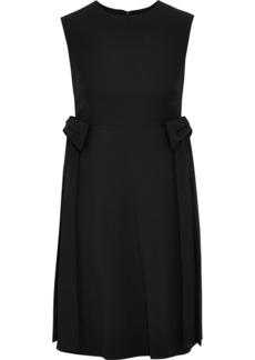 Valentino Woman Bow-embellished Wool And Silk-blend Mini Dress Black