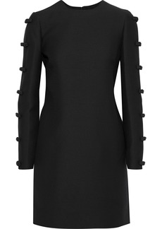 Valentino Woman Bow-embellished Wool And Silk-blend Mini Dress Black