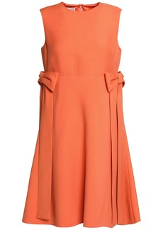 Valentino Woman Bow-embellished Wool And Silk-blend Mini Dress Orange