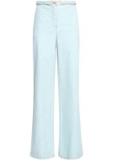 Valentino Woman Braid-trimmed High-rise Wide-leg Jeans Light Denim