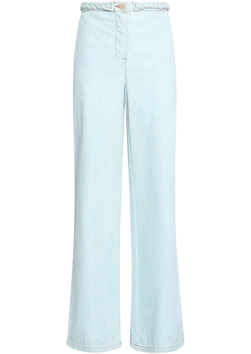 Valentino Woman Braid-trimmed High-rise Wide-leg Jeans Light Denim