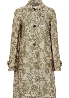 Valentino Woman Brocade Coat Gold