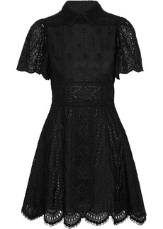 Valentino Woman Broderie Anglaise Cotton-blend Mini Dress Black