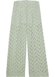 Valentino Woman Broderie Anglaise Cotton Wide-leg Pants Mint