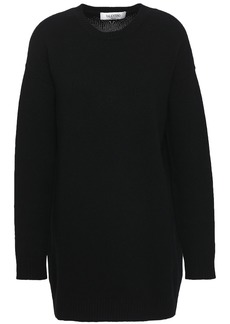 Valentino Woman Brushed Wool And Cashmere-blend Sweater Black