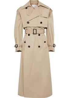 Valentino Woman Button-detailed Cutout Gabardine Trench Coat Beige