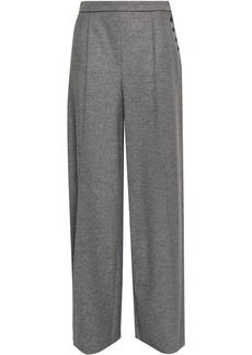 Valentino Woman Button-detailed Wool-felt Wide-leg Pants Gray