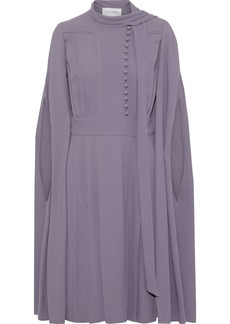 Valentino Woman Cape-back Button-detailed Crepe Dress Purple