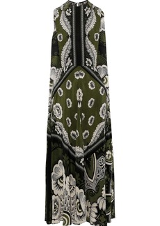 Valentino Woman Cape-back Floral-print Silk Crepe De Chine Midi Dress Army Green