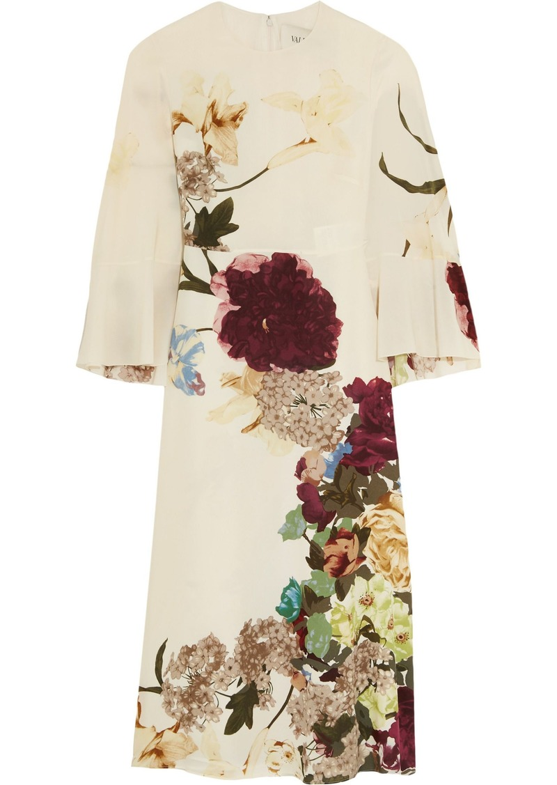Valentino Woman Cape-back Floral-print Silk Midi Dress Ecru