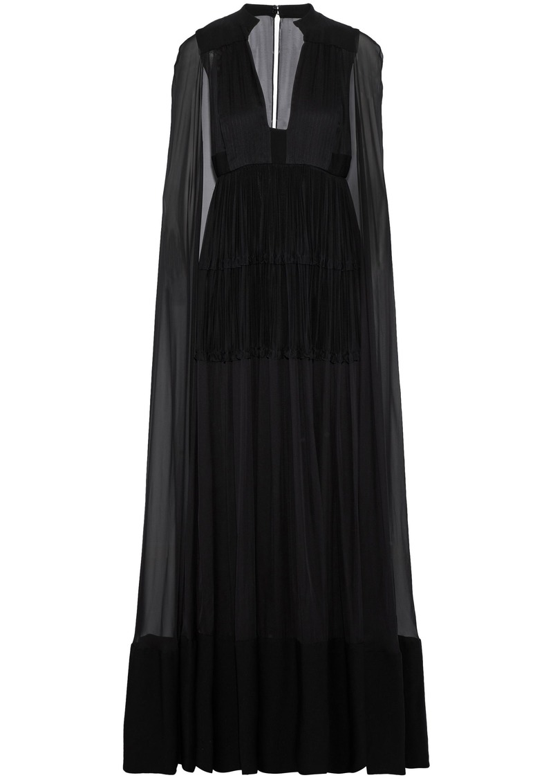 Valentino Woman Cape-back Pleated Crepe And Silk-chiffon Gown Black