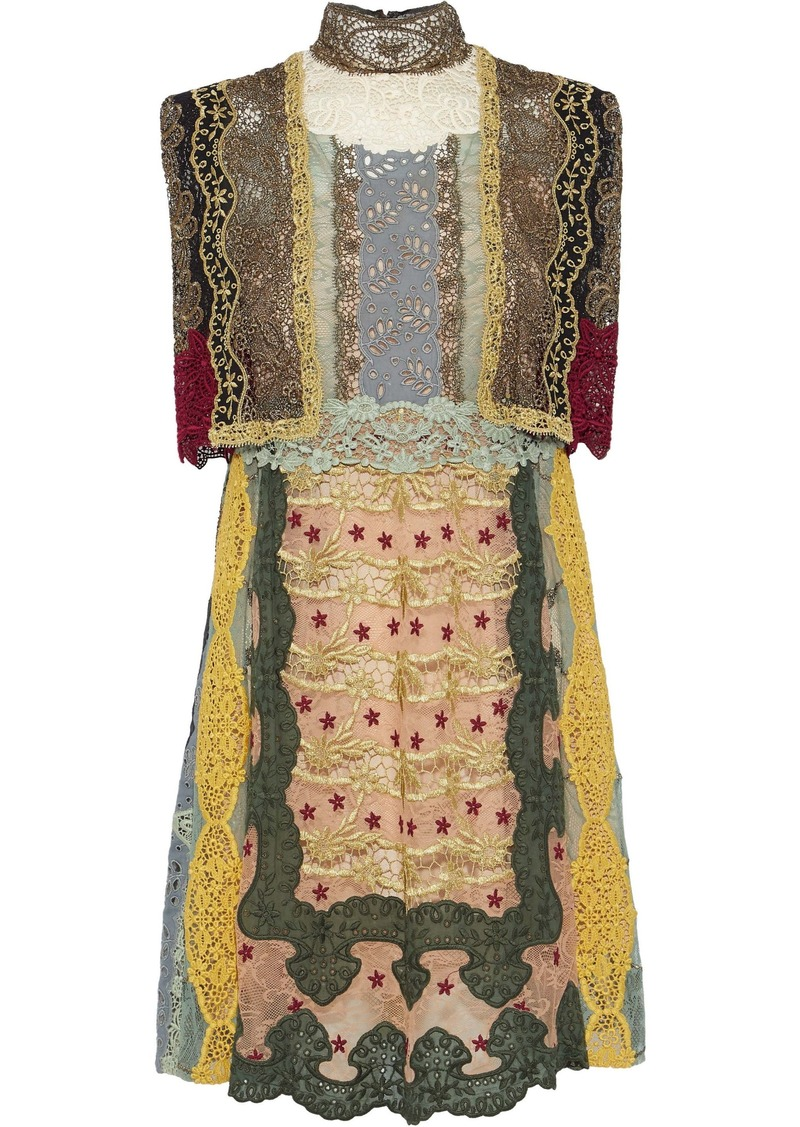 Valentino Woman Cape-effect Broderie Anglaise-paneled Embroidered Lace Turtleneck Mini Dress Multicolor