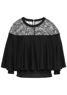 Valentino Woman Cape-effect Chantilly Lace-paneled Wool Top Black