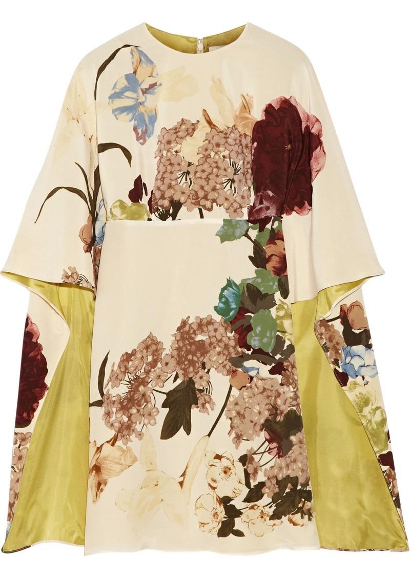 Valentino Woman Cape-effect Floral-print Silk-crepe Mini Dress Beige