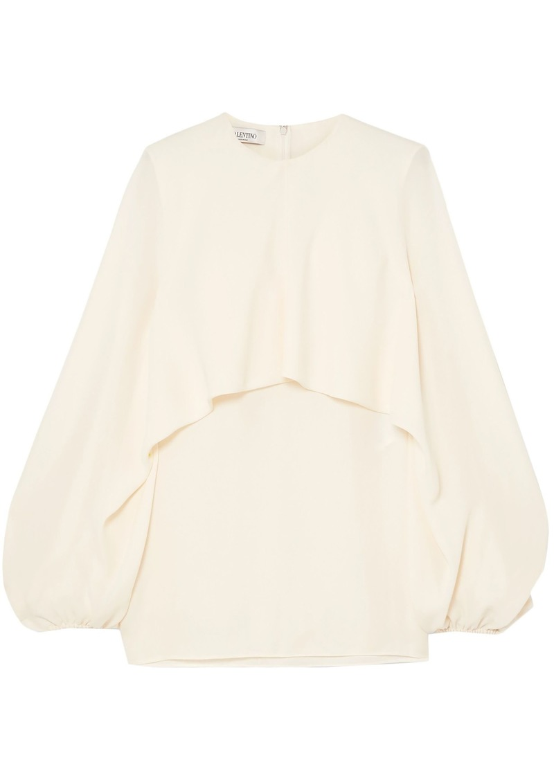Valentino Woman Cape-effect Silk-crepe Blouse Ivory