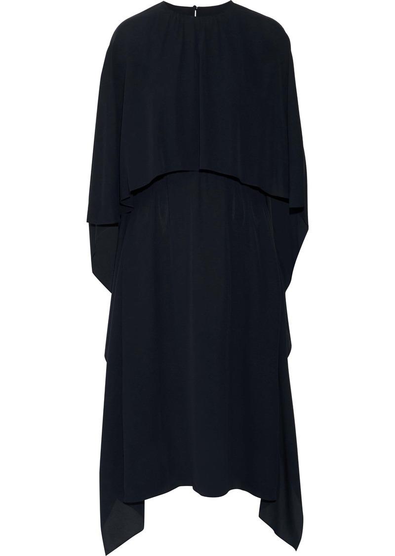 Valentino Woman Cape-effect Silk Crepe De Chine Midi Dress Midnight Blue