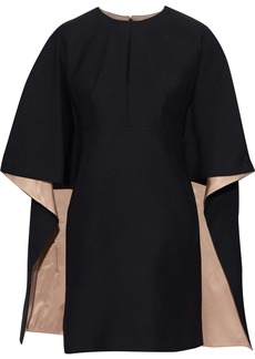 Valentino Woman Cape-effect Wool And Silk-blend Cady Mini Dress Black