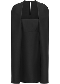Valentino Woman Cape-effect Wool And Silk-blend Crepe Mini Dress Black