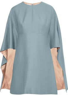 Valentino Woman Cape-effect Wool And Silk-blend Cady Mini Dress Light Blue