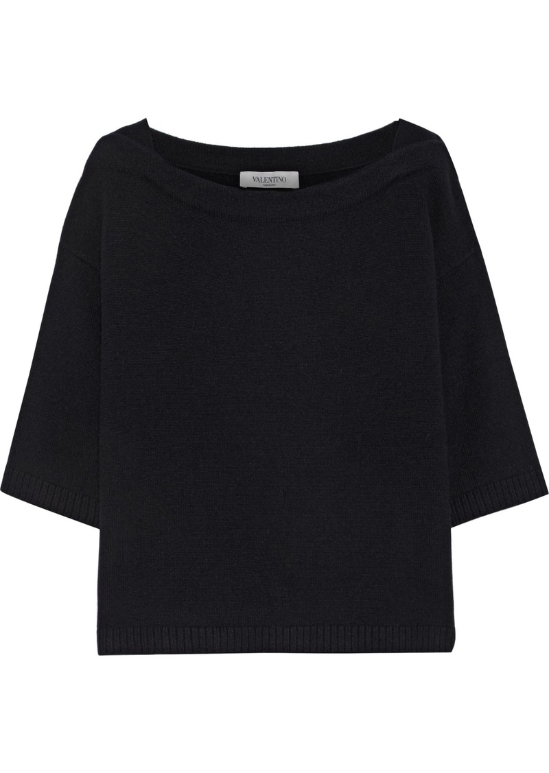 Valentino Woman Ribbed Cashmere Top Black