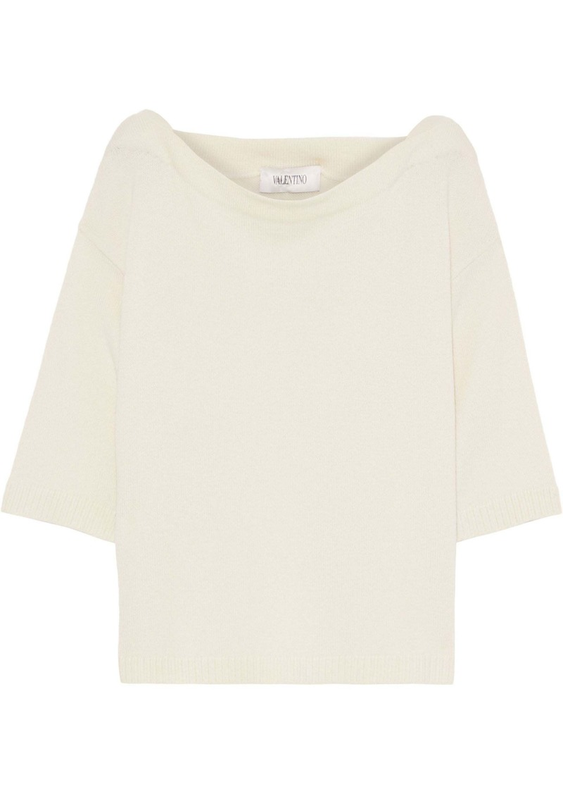 Valentino Woman Ribbed Cashmere Top Ecru