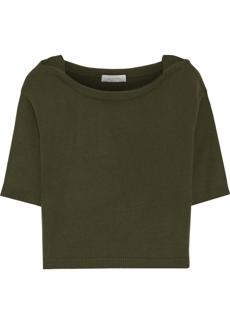 Valentino Woman Ribbed Cashmere Top Army Green