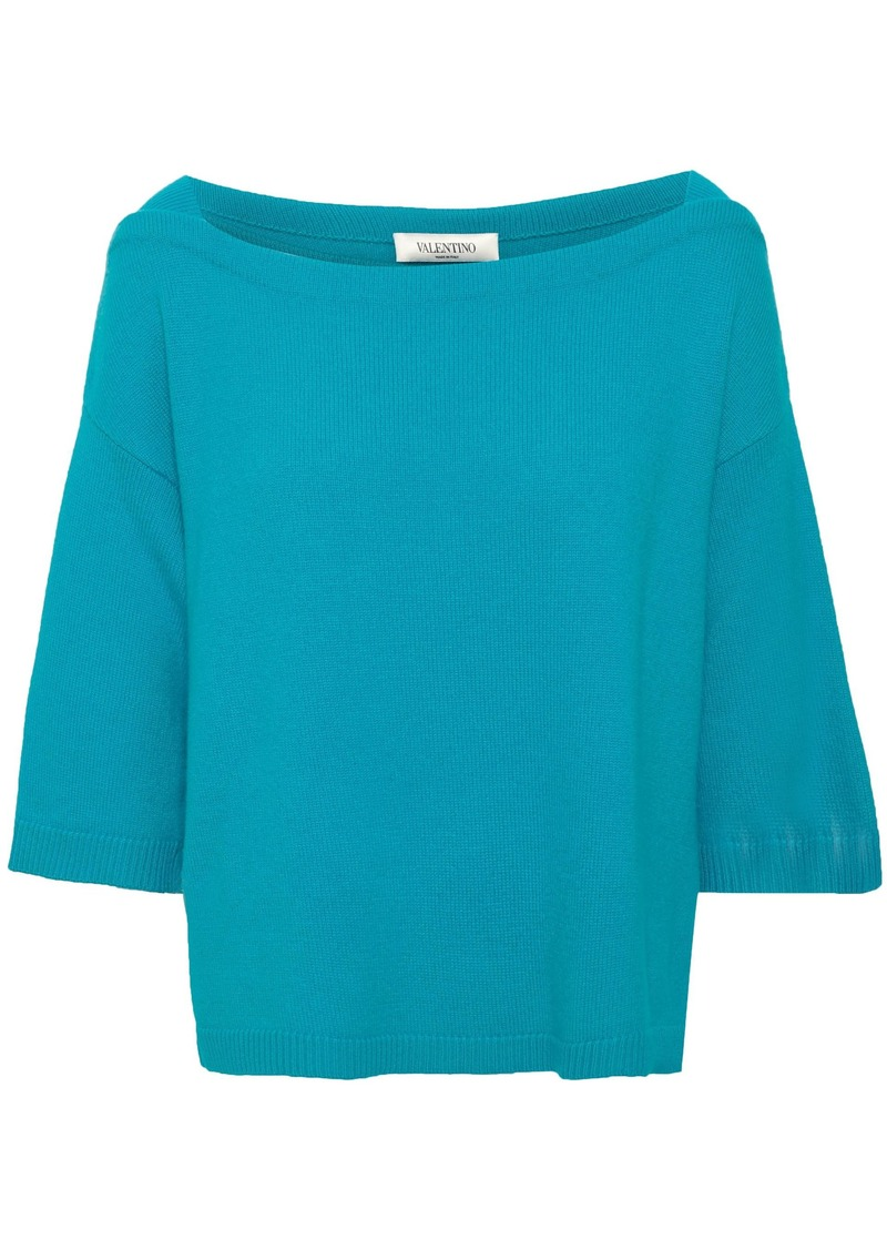 Valentino Woman Ribbed Cashmere Top Turquoise