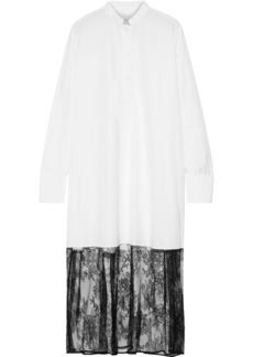 Valentino Woman Chantilly Lace-paneled Cotton-poplin Midi Shirt Dress White