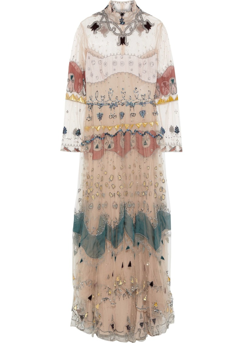 Valentino Woman Wrap-effect Crystal-embellished Tulle Gown Brown