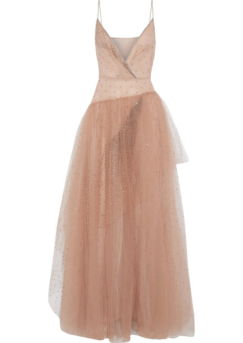 Valentino Woman Wrap-effect Crystal-embellished Tulle Gown Blush