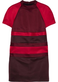 Valentino Woman Color-block Duchesse Silk-satin Mini Dress Claret