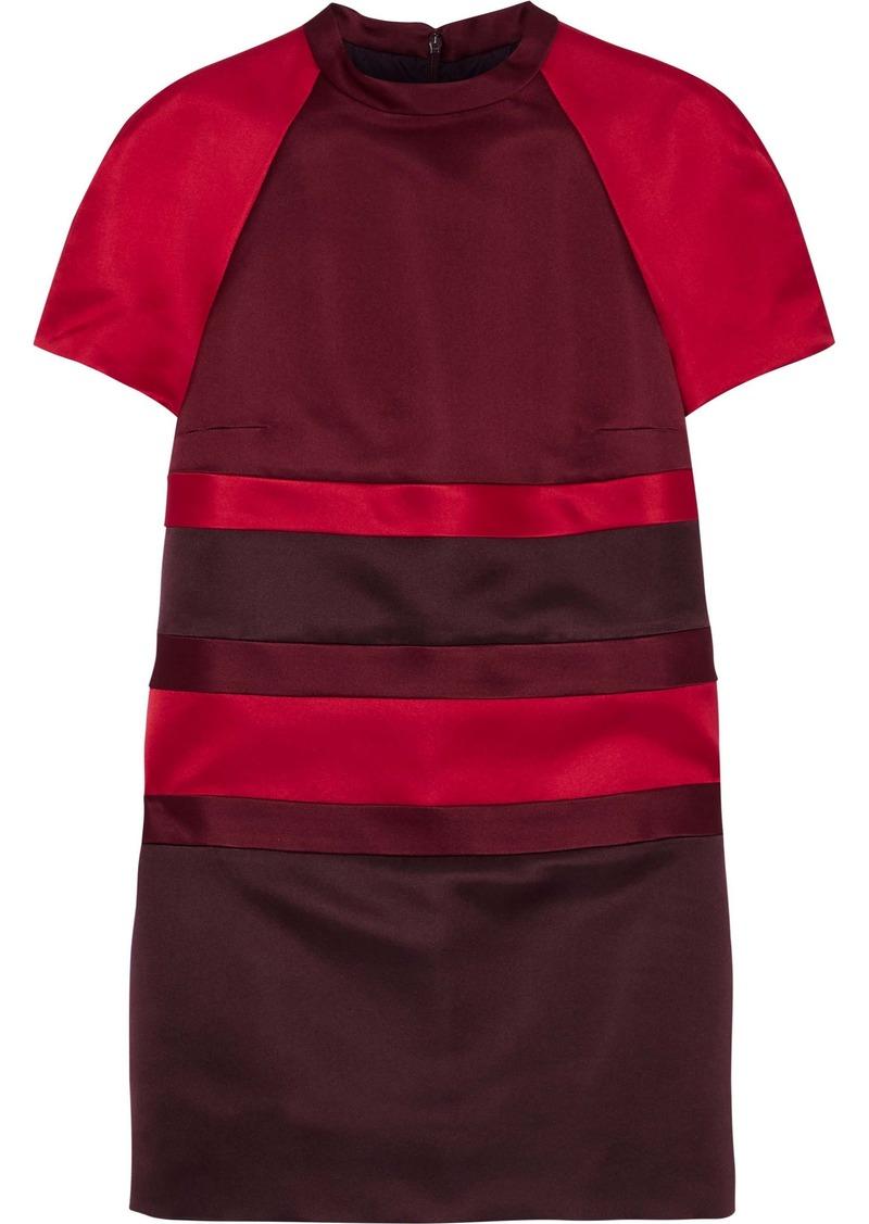 Valentino Woman Color-block Duchesse Silk-satin Mini Dress Claret