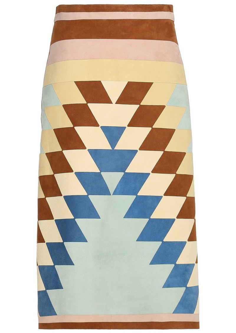 Valentino Woman Color-block Suede Midi Skirt Mint